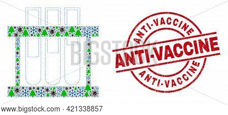 Winter Covid Mosaic Chemical Test Tubes, And Grunge Anti-vaccine Red Round Stamp Imitation. Mosaic C