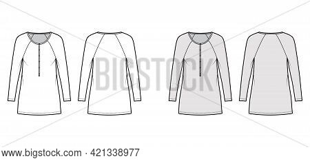 Dress Henley Collar Technical Fashion Illustration With Long Raglan Sleeves, Oversized Body, Mini Le