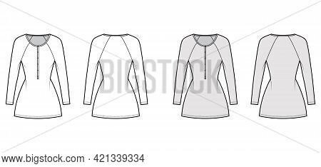 Dress Henley Collar Technical Fashion Illustration With Long Raglan Sleeves, Fitted Body, Mini Lengt