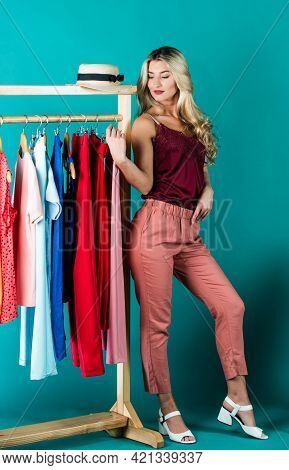 Favorite Garment. Be In Style. Buying Clothes And Fashion Accessories. Consumer Choosing Garment