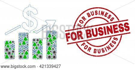 Winter Coronavirus Collage Dollar Trends, And Distress For Business Red Round Stamp Seal. Mosaic Dol