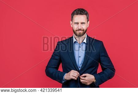 Entrepreneur Or Manager. Male Formal Fashion. Professional Unshaven Ceo. Boss In Formalwear.