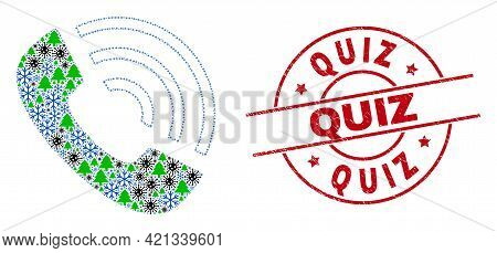 Winter Pandemic Collage Call Phone, And Unclean Quiz Red Round Stamp. Mosaic Call Phone Is Designed