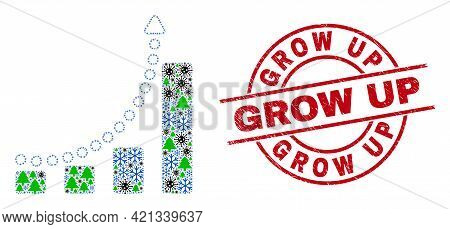 Winter Coronavirus Collage Growing Chart Trend, And Textured Grow Up Red Round Seal. Collage Growing