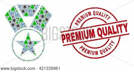 Winter Viral Mosaic Star Award, And Unclean Premium Quality Red Round Seal. Mosaic Star Award Is Cre