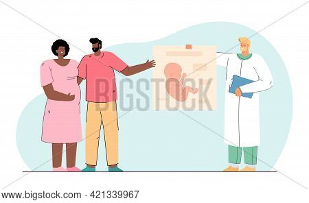 Happy Couple Expecting Baby. Flat Vector Illustration. Gynecologist Holding Poster Of Human Fetus, A