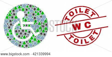 Winter Covid Collage Wheelchair Person, And Grunge Wc Red Round Badge. Collage Wheelchair Person Is