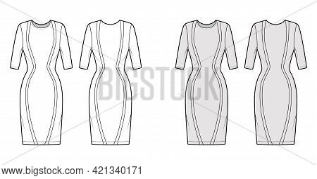 Dress Panel Technical Fashion Illustration With Hourglass Silhouette, Elbow Sleeve, Fitted Body, Kne