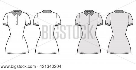 Dress Polo Fashion Illustration With Short Sleeves, Fitted Body, Mini Length Pencil Skirt, Henley Ne