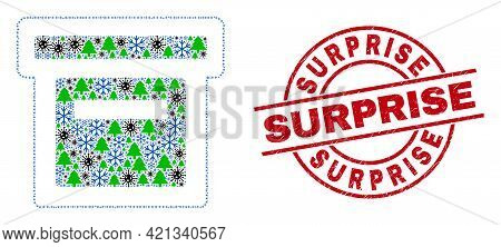 Winter Viral Collage Box, And Rubber Surprise Red Round Stamp Print. Collage Box Is Made With Viral,
