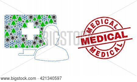 Winter Covid Collage Online Medical Patient, And Medical Red Round Badge. Collage Online Medical Pat