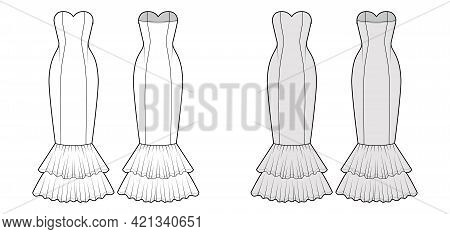 Dress Mermaid Technical Fashion Illustration With Strapless Sweetheart Neckline, Fitted Body, Circul