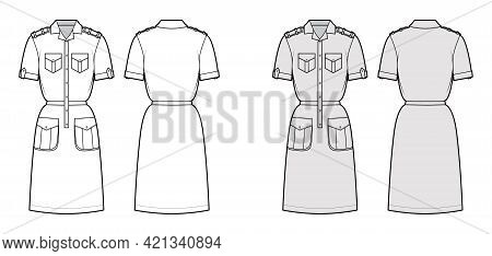 Dress Safari Technical Fashion Illustration With Short Sleeves, Flap Cargo Pockets, Epaulettes, Fitt