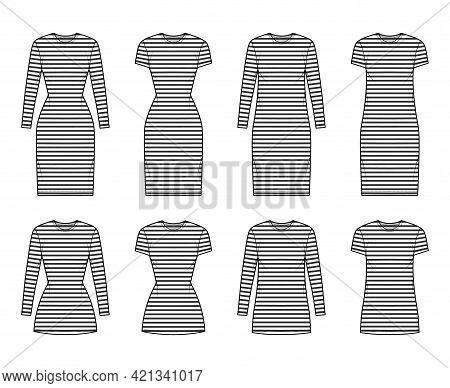 Set Of Dresses Sailor Technical Fashion Illustration With Stripes, Long Elbow Short Sleeve, Oversize