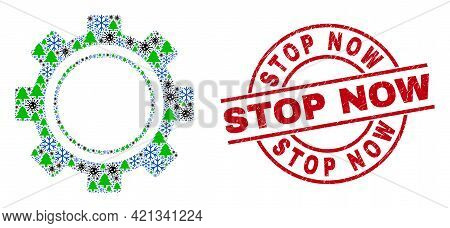 Winter Covid Composition Gear, And Stop Now Red Round Stamp Imitation. Collage Gear Is Composed From