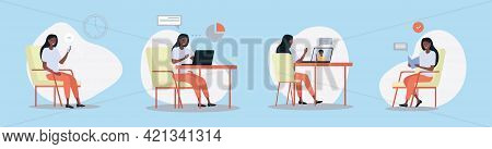 Set Of Woman Working In Different Places. Young Female Freelancer Is Working On Laptop And Computer