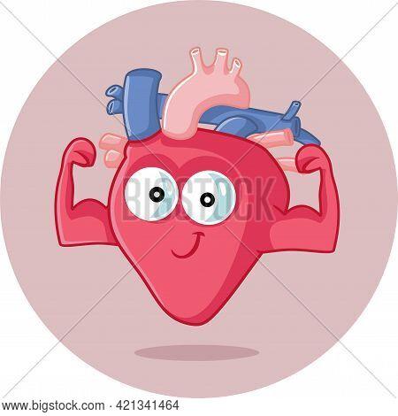 Strong Healthy Heart Vector Funny Cartoon Illustration