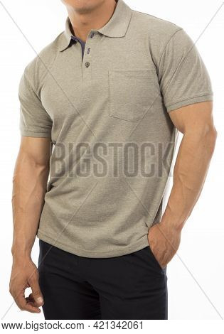 Man In Khaki Shirt With Short Sleeve Isolated On A White Background Template For A Catalogue Or Clot