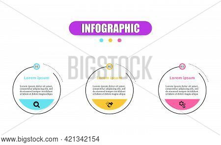 Vector Design Minimal Business Infographics Template With 3 Steps, Options, Marketing Icons. Vector