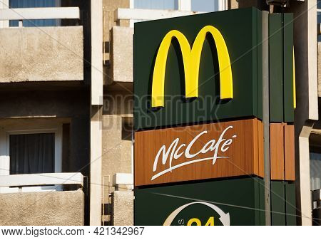 Bucharest, Romania - April 01, 2021: Pillar Signage Of A Mcdonald\'s Fast Food Restaurant In Buchare