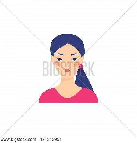 Portrait Of A Young Beautiful, Asian Woman, Vector Flat Illustration. Asian Cute Girl Avatar Cartoon