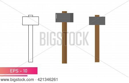 A Set Of Sledgehammers, With Angular Rough Shapes. Realistic And Linear Design. On A White Backgroun