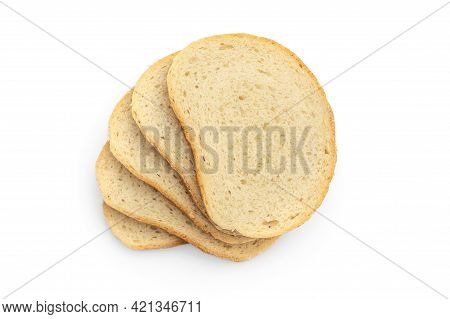 Stack Of Sliced Bread On White Background. Top View.