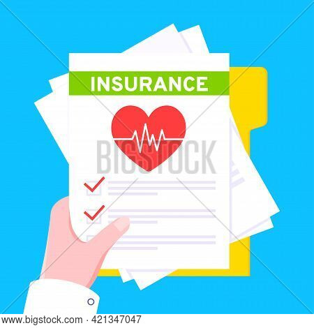 Hand Hold Medical Insurance Claim Form With File Paper Sheets Flat Style Design Vector Illustration.