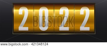 White Numbers 2022 On Golden Background. Mechanical Scoreboard. Realistic Mechanical Counter. Vector