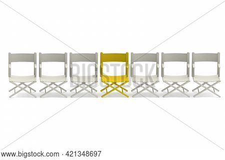 Row Of White Chairs With One Yellow, 3d Rendering