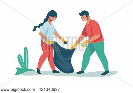 People Sorting And Recycling Waste. Volunteers Collecting Rubbish Outdoor. Man And Woman Putting Gar