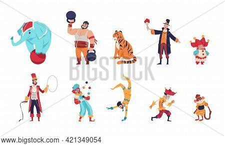 Circus Characters. Cartoon Clowns. Juggler Throws Balls. Acrobat And Magician Shows Tricks. Animal T
