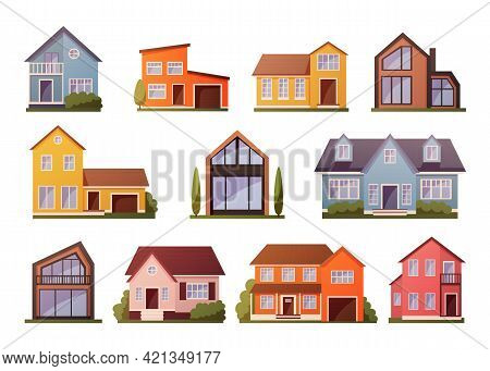 Modern Houses. Cartoon Townhouse Architecture. Residential Buildings Facades Set. Front View Of Cott