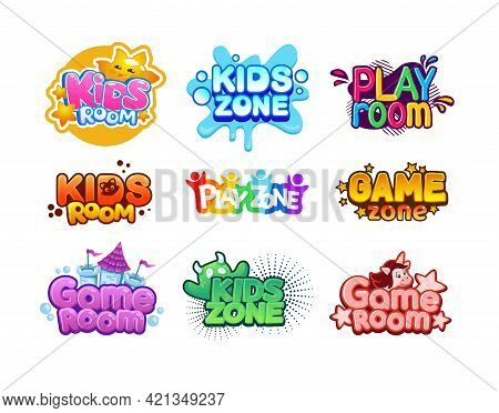 Kids Zone. Cartoon Children Playroom. Entertaining Playground Logo Set. Funny Play Rooms Banners. Co