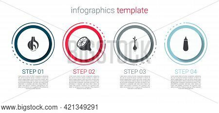Set Onion, Lemon, Fresh Green Onions And Eggplant. Business Infographic Template. Vector