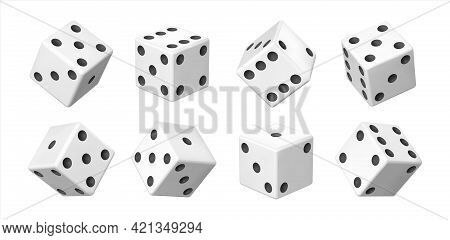 Realistic 3d Dice. White Casino And Betting Element. View From Different Sides On White Cube With Bl