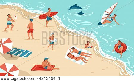 People On Summer Beach. Men And Women Rest On Seashore. Happy Persons Sunbathing Or Surfing. Boys Pl