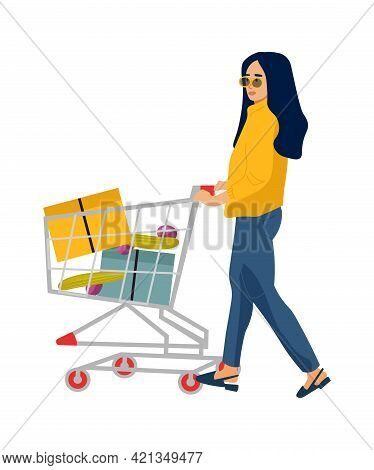 Shopping Woman. Cartoon Customer Carrying Cart For Purchases In Store. Young Female Character Buys F