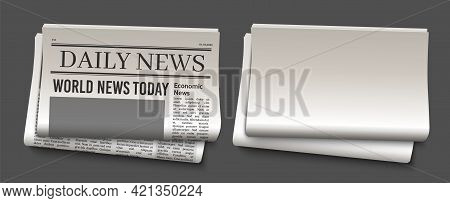 Newspaper Headline Template. News Paper Headline Vector Mockup. Tabloid Journal Simple Background. N