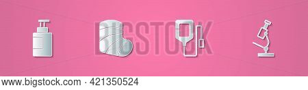 Set Paper Cut Hand Sanitizer Bottle, Gypsum, Iv Bag And Microscope Icon. Paper Art Style. Vector