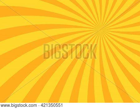 Sunlight Swirl Rays Wide Background. Orange Spiral Burst Wallpaper. Vector Illustration. Sun Beam Ra