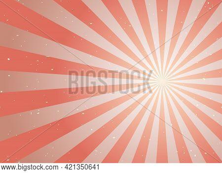 Sunlight Retro Faded Grunge Background. Red And Beige Color Burst Background. Vector Illustration. S