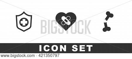 Set Life Insurance In Hand, Healed Broken Heart And Human Bone Icon. Vector