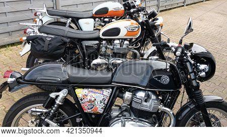 Bordeaux , Aquitaine France - 05 18 2021 : Triumph Bonneville And Royal Enfield Two Motorcycles Mode