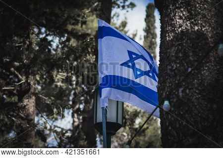 The Israeli Flag Moves In The Wind, Before The Israeli Independence Day