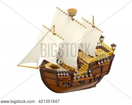 Wooden Ancient Cartoon Ship Isolated On White, 3d Illustration