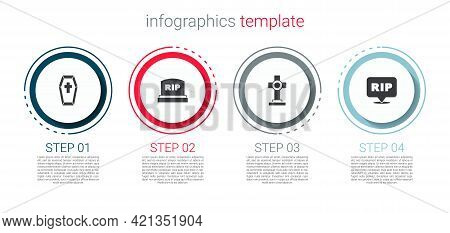 Set Coffin With Cross, Tombstone Rip Written, Grave And Speech Bubble Rip Death. Business Infographi
