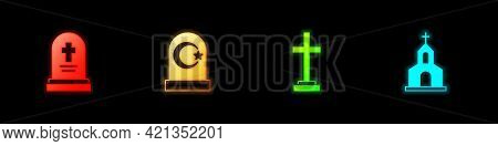 Set Grave With Tombstone, Muslim Cemetery, Cross And Church Building Icon. Vector