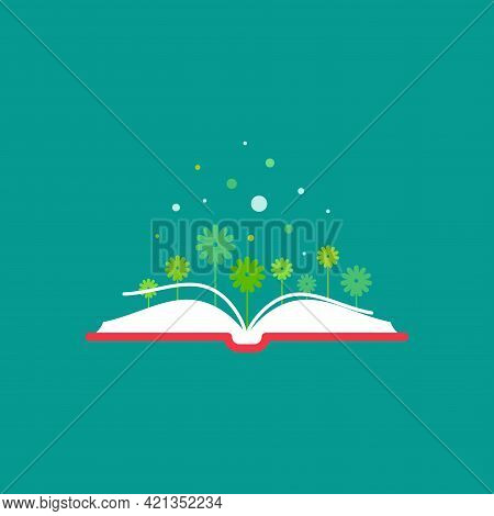 Open Book With Green Flowers. Flat Icon Isolated On Turquoise Background. Reading Icon. Vector Illus