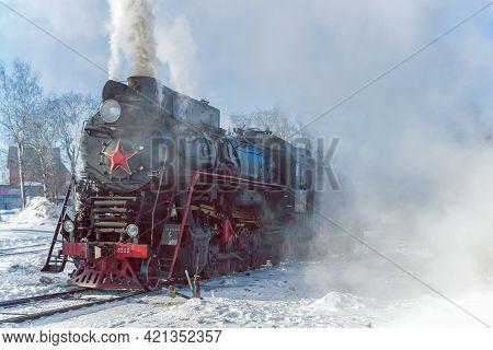 Sortavala, Russia - March 10, 2021: Soviet Mainline Freight Steam Locomotive Of The
